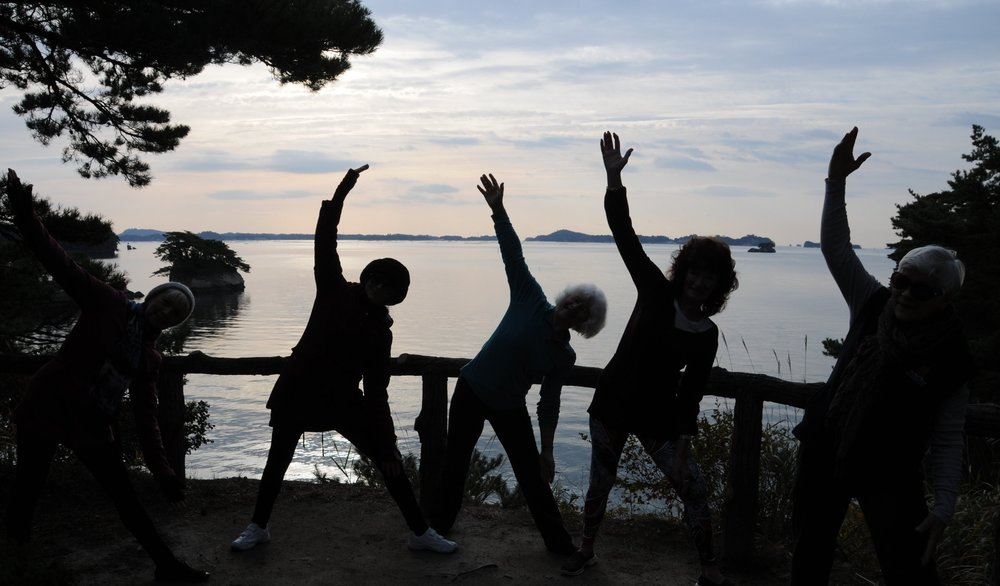Morning yoga on Oshima
