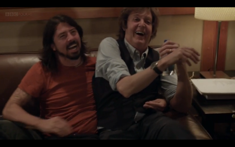 Sir Paul McCartney and Grohl recording in the studio