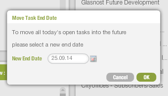 New task end date picker