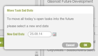 New task end date picker