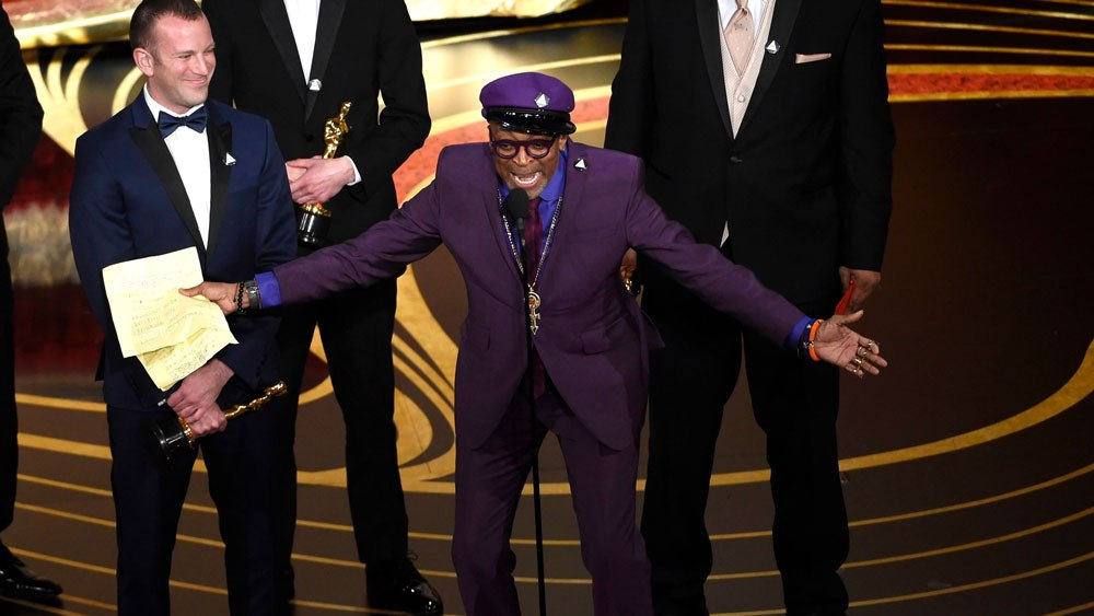 Spike Lee accepting his Oscar for Best Adapted Screenplay