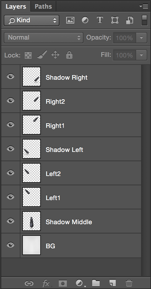 The eight layers in Photoshop