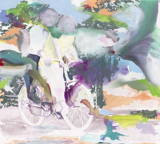 Tag ohne Schatten  |Tusche, Acryl, Linoldruck und Öl auf Leinwand | 180 x 200 cm