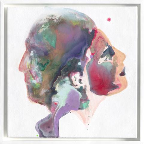 Januskopf #3  |Tusche, Acryl und Öl auf Leinwand | 40 x 40 cm