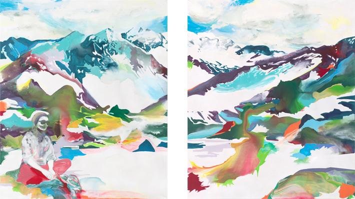 Entdeckung der Tiefenzeit  |Tusche, Acryl und Öl auf Leinwand | 2 x 240 x 200 cm