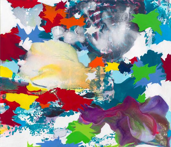 I'm late | Tusche, Acryl, Linoldruck und Öl auf Leinwand, 120 x 140 cm