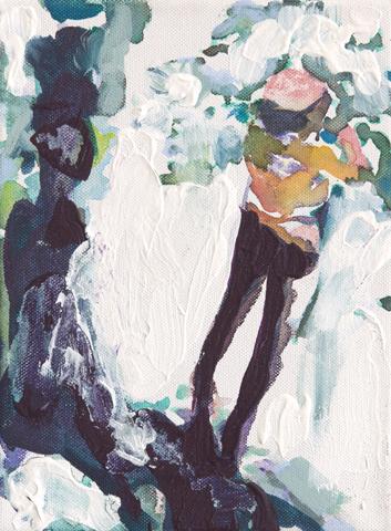 Die Weiße Hölle vom Pitz Palü  | Tusche, Acryl und Öl auf Leinwand | 24 x 18 cm