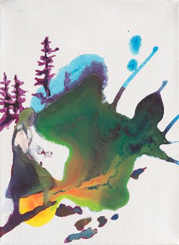 Sommertag im Stubaittal  | Tusche, Acryl und Öl auf Leinwand | 24 x 18 cm