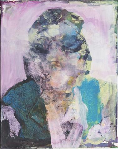 Das eingebildetePorträt  | Tusche, Acryl undMonotypie auf Leinwand | 50 x 40 cm