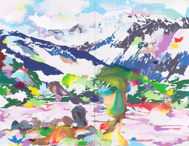 2497 MüdM  | Tusche, Acryl und Öl auf Leinwand | 280 x 360 cm (2tlg.)