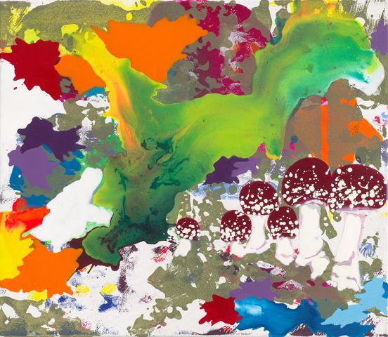 Pluck'd in a far-off land  | Tusche, Acryl, Linoldruck und Öl auf Leinwand | 60 x 70 cm