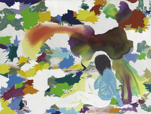 Hier geht es weiter  | Tusche, Acryl, Linoldruck und Öl auf Leinwand | 160 x 210 cm