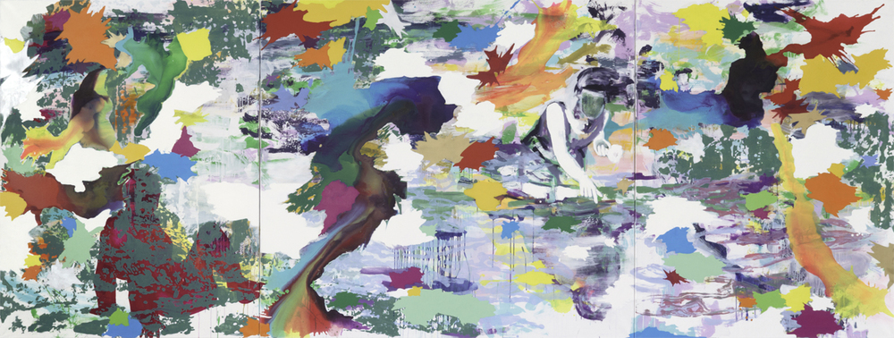 Warten auf G.  | Tusche, Acryl, Linoldruck und Öl auf Leinwand | 180 x 480 cm (3tlg.)