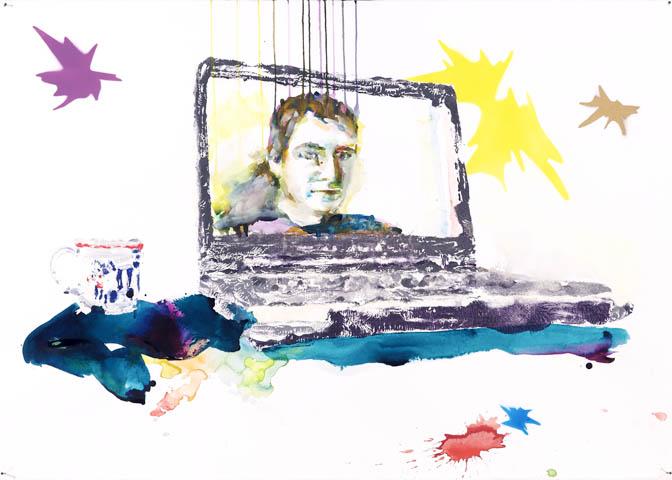 Ende der Nachricht  | Aquarell, Acryl und Druck auf Papier | 70 x 100 cm