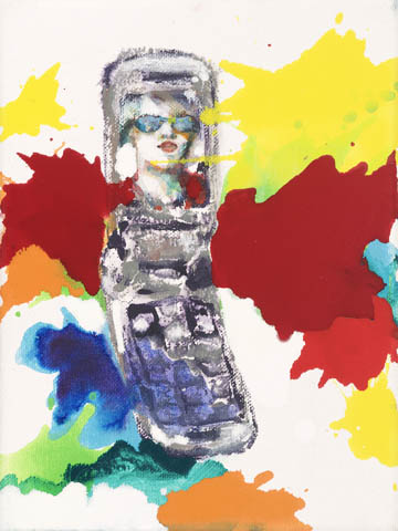 Nicht im Traum  | Aquarell, Acryl, Druck und Öl auf Leinwand | 24 x 18 cm