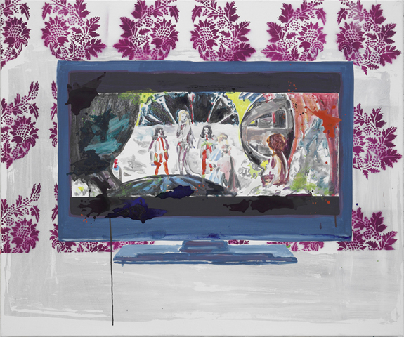 In einer anderen Galaxie  | Tusche, Acryl, Linoldruck u. Öl auf Leinwand | 100 x 120 cm