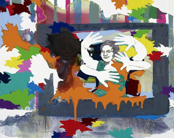 Die Welterzeugung  | Tusche, Acryl, Linoldruck u. Öl auf Leinwand | 60 x 70 cm