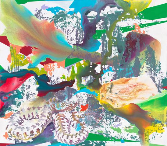 Eure Augen aufgetan | Tusche, Acryl und Linoldruck auf Leinwand | 140 x 160 cm