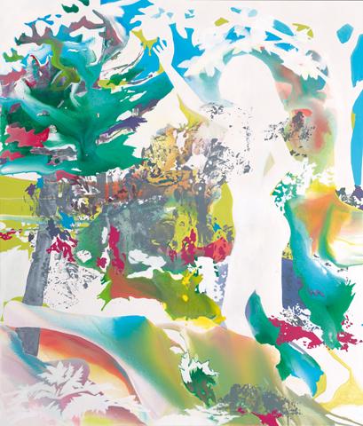 Sündenfall in 10, 9, 8, … | Tusche, Acryl und Linoldruck auf Leinwand | 210 x 180 cm