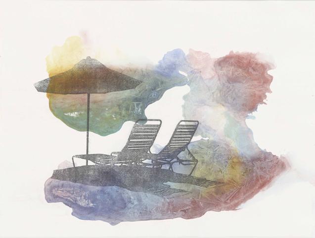 Paradies Pauschal  |Aquarell und Frottage auf Büttenpapier | 46 x 61 cm