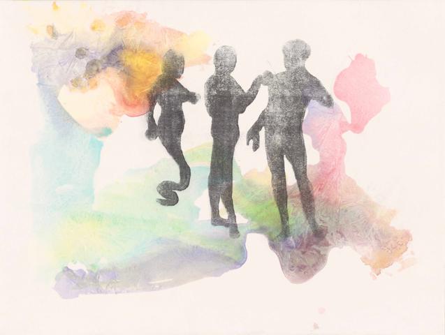 Versuchung nach Cranach  |Aquarell und Frottage auf Büttenpapier | 46 x 61 cm