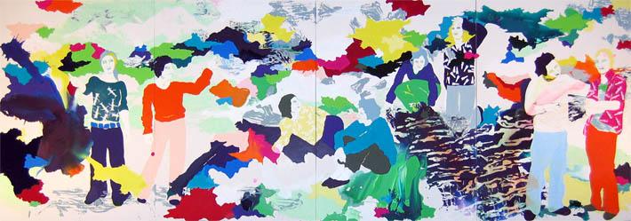 Und meine bunten Hühner stehn im Schnee und staunen | Tusche, Acryl, Linoldruck u. Öl auf Leinwand | 250 x 720 cm (4tlg.)