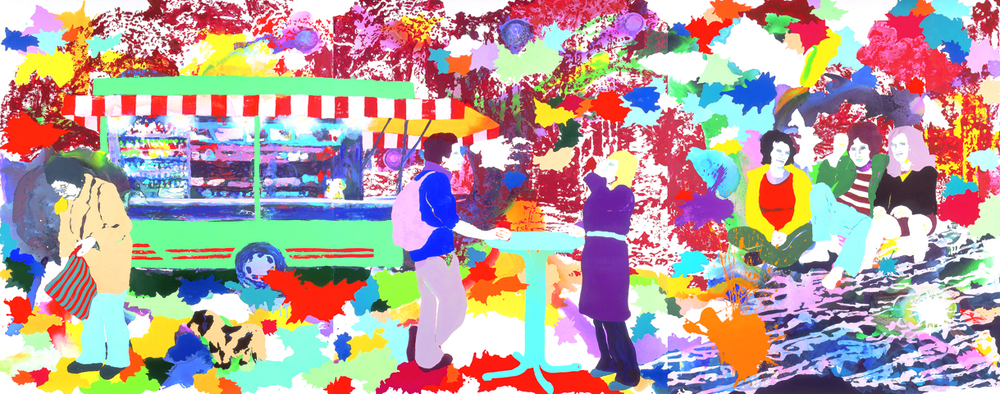 grüner Imbiss  | Tusche, Acryl, Linoldruck und Öl auf Leinwand | 280 x 708 cm (3tlg.)