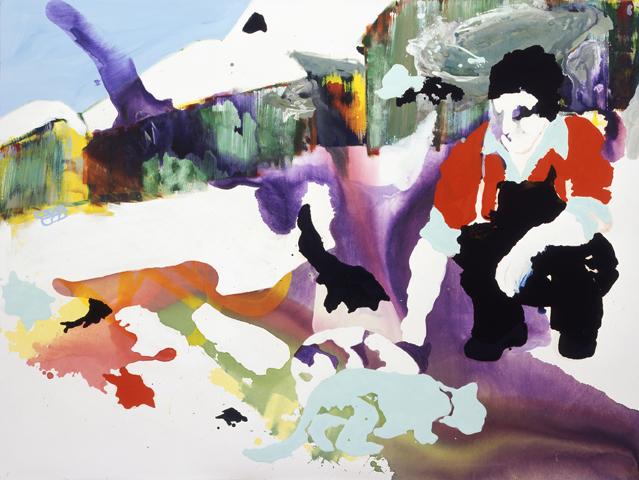 Josefs Freunde  | Tusche, Acryl, Linoldruck u. Öl auf Leinwand | 150 x 200 cm