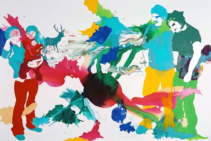 Du siehst, wohin du siehst  | Tusche, Acryl, Linoldruck u. Öl auf Leinwand | 200 x 250 cm