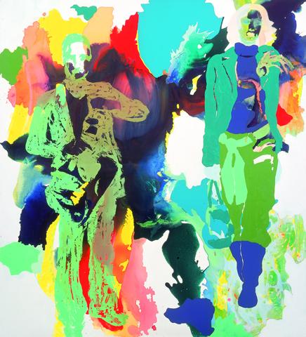 Onkel Marlene  | Tusche, Acryl, Linoldruck u. Öl auf Leinwand | 200 x 180 cm
