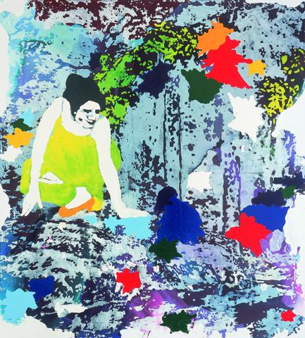 Nacht der Entscheidung  | Tusche, Acryl, Linoldruck u. Öl auf Leinwand | 200 x 180 cm