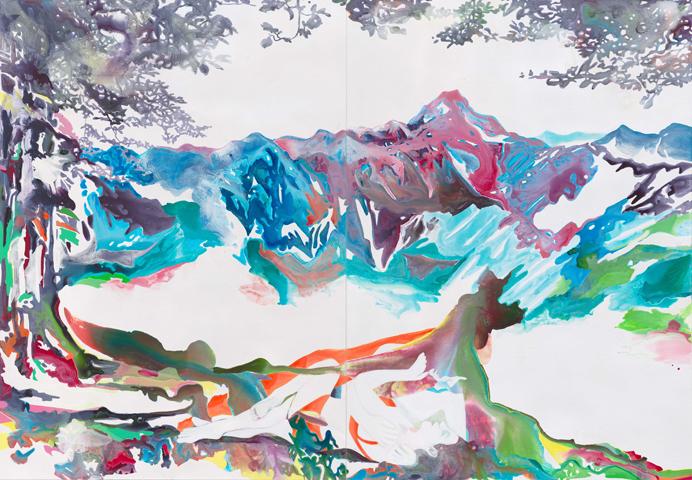 Verweile doch! Du bist so schön!  | Tusche und Acryl auf Leinwand | 250 x 360 cm (Diptychon)
