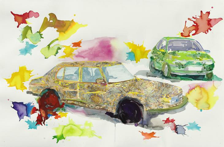 Sonntagsfahrt  | Aquarell, Tusche u. Blattgold auf Papier | 80 x 124 cm
