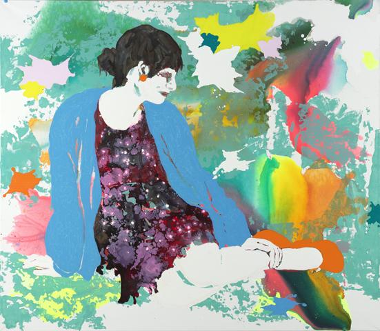 Mme ich liebe sie  | Tusche, Acryl, Linoldruck u. Öl auf Leinwand | 140 x 160 cm
