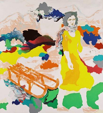 Fräulein Smilla  | Tusche, Acryl, Linoldruck u. Öl auf Leinwand | 200 x 180 cm