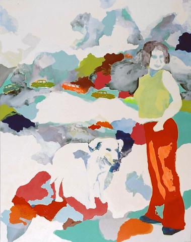 Die Berge im Rücken  | Tusche, Acryl u. Öl auf Leinwand | 199 x 166 cm