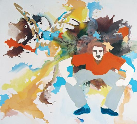 Der Held und sein Tier  | Tusche, Acryl u. Öl auf Leinwand | 180 x 200 cm