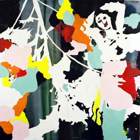 o. T. 6  | Tusche, Acryl u. Öl auf Leinwand | 200 x 200 cm