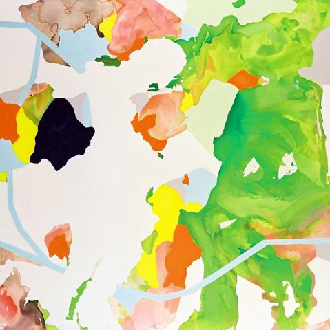 o. T.  | Tusche, Acryl u. Öl auf Leinwand | 200 x 200 cm