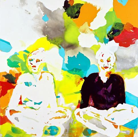 o. T. 5  | Tusche, Acryl u. Öl auf Leinwand | 200 x 200 cm