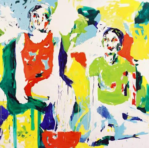 31 Grad  | Acryl u. Öl auf Leinwand | 200 x 200 cm