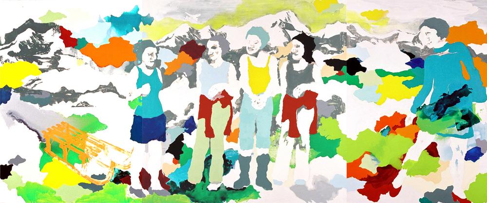 und weiter  | Tusche, Acryl u. Linoldruck auf Leinwand | 480 x 200 cm (3tlg.)