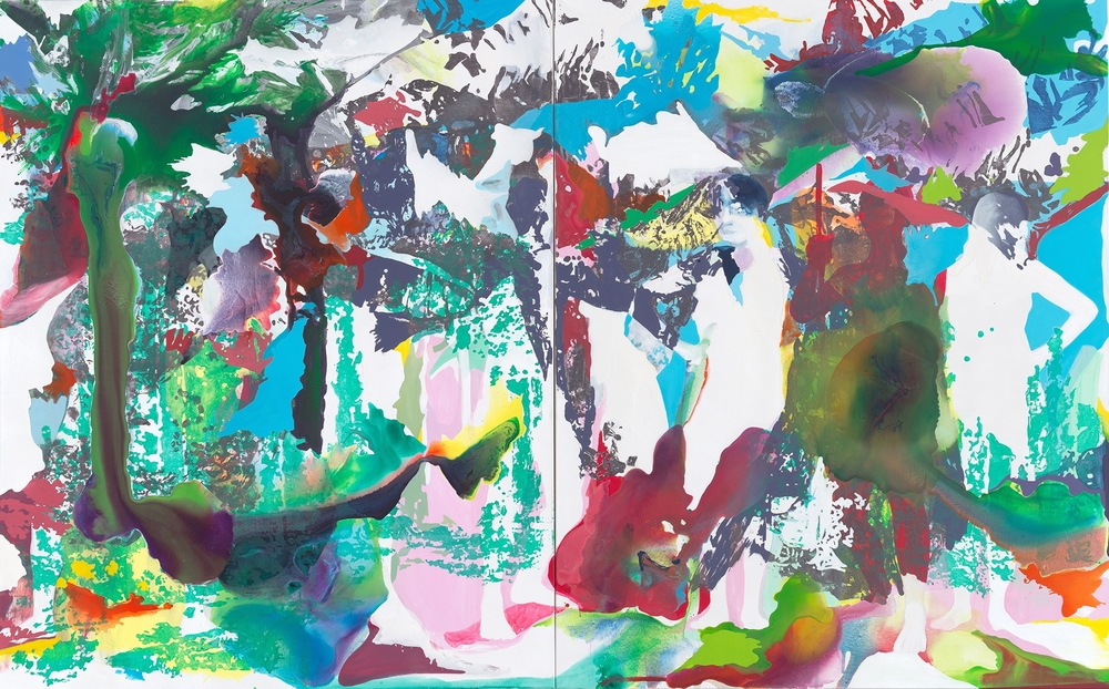 Hui – Patupaiarehe  | Tusche, Acryl, Linoldruck und Öl auf Leinwand | 250 x 400 cm (Diptychon)
