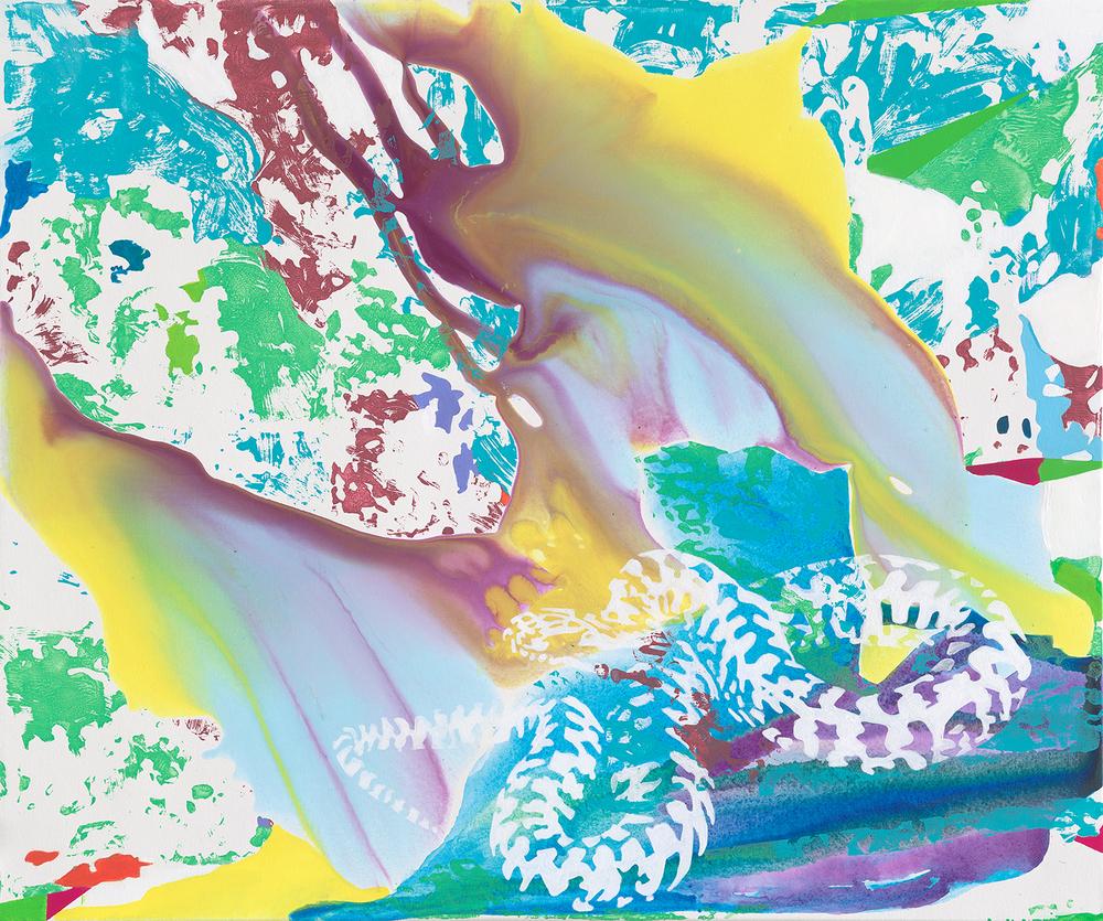 Serpentine  | Acryl, Tusche und Linoldruck auf Leinwand | 100 x 120 cm