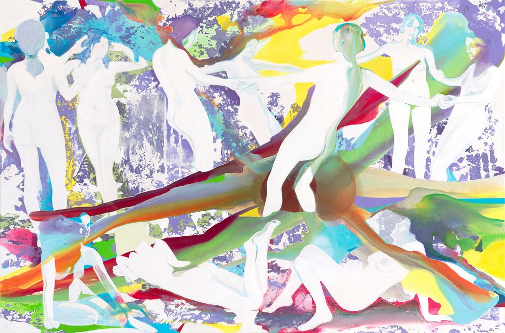 Propaganda Paradise  | Acryl, Tusche und Linoldruck auf Leinwand | 200 x 300 cm