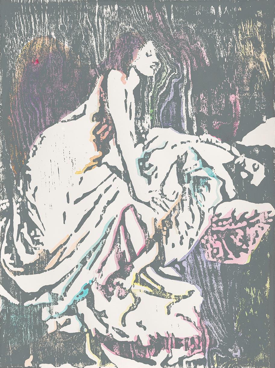The Vampire #1  | Aquarell und Holzdruck auf Büttenpapier | 61 x 46 cm
