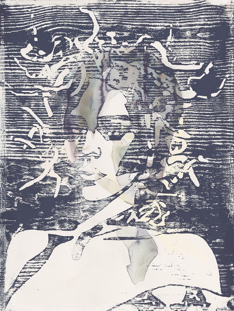 Medusa #1  | Aquarell und Holzdruck auf Büttenpapier | 61 x 46 cm