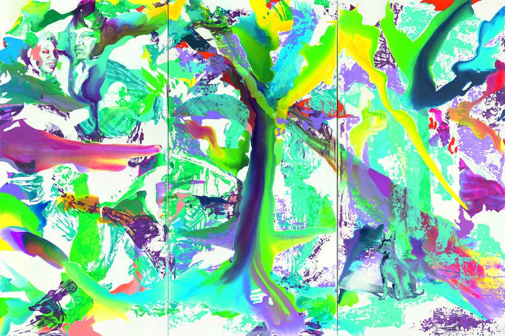 Ilka und Hans | Aquarell, Acryl, Öl und Linoldruck auf Leinwand | 200 x 300 cm (Triptychon) |Sammlung Hans Grothe