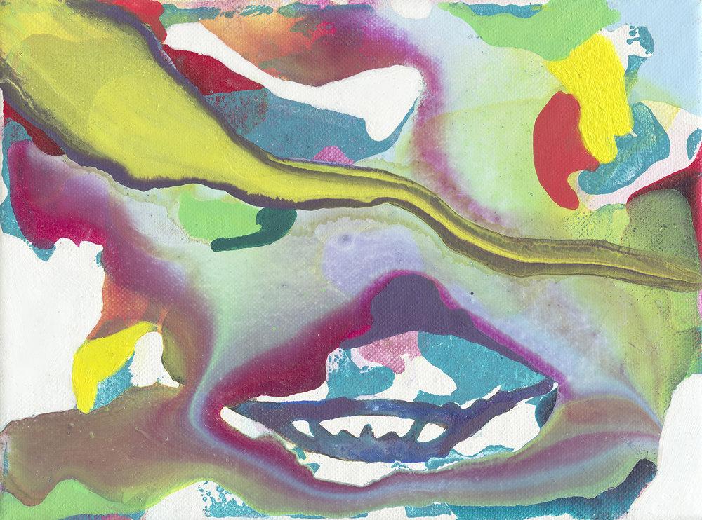 Grin | Tusche, Acryl, Öl und Linoldruck auf Leinwand | 18 x 24 cm