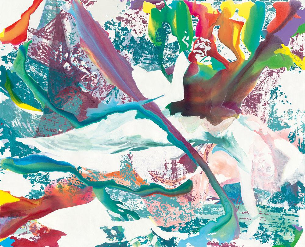 Nachtmahr | Tusche, Acryl, Öl und Linoldruck auf Leinwand | 180 x 220 cm